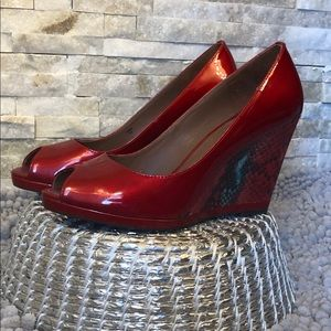 Donald J Pliner Red Patent Leather Wedge Heels